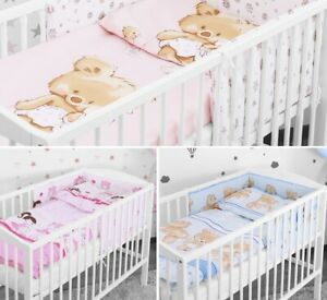 LOVELY-BABY-BEDDING-SET-2-3-5-6-PCS-BUMPER-PILLOW-DUVET-FIT-COTBED-140x70-NEW