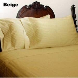 Beige Striped Home Bedding Items All US-Size 1000 TC 100% Egyptian Cotton