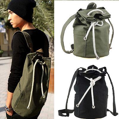 Men's Vintage Canvas Backpack Shoulder Schoolbag Bucket Bag Black/Green