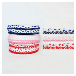 14mm Bias Binding Floating Hearts Frilled Lace Edge