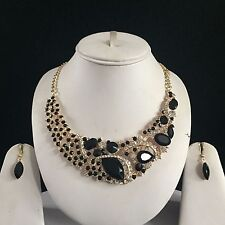 BLACK GOLD INDIAN COSTUME JEWELLERY NECKLACE EARRINGS DIAMOND SET BRIDAL NEW 21