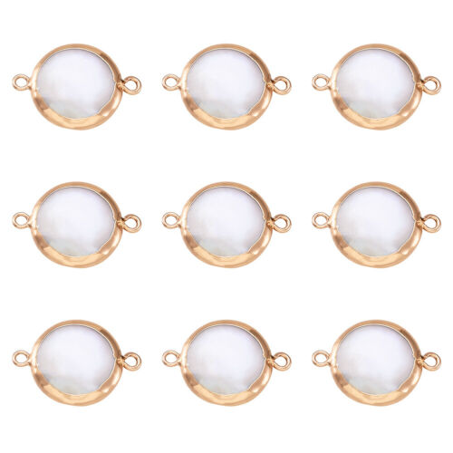 10pcs Plated Natural Keshi Pearl Links Flat oval Pendants Charms Golden 22~24mm