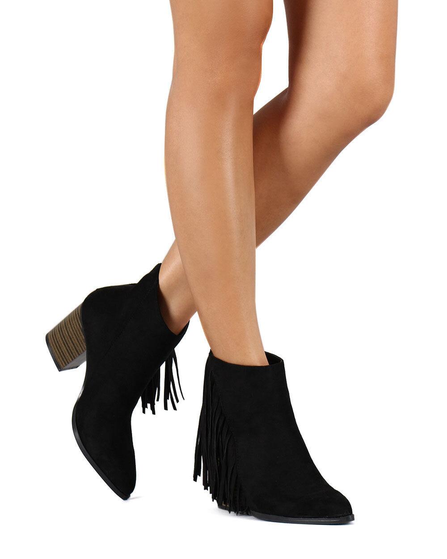 New Women Bootie Suede Pointy Toe Fringe Chunky Heel Qupid Tilt-01