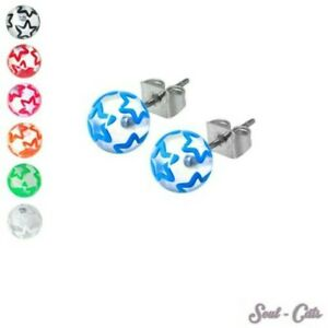 1 Pair Ball Studs with Stars Transparent Round Pink Blue Red Black