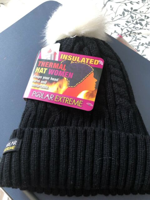 0c7d3c04575e7 Polar Extreme Women s Thermal Insulated Cable Knit Beanie Hat Pom Pom Black  for sale online