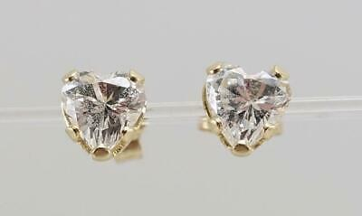 Details about  /Women 14K Yellow Gold Cubic CZ Cluster Flower Heart Safetyback Stud Earrings
