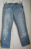 Ruehl Ny No. 925 Womens Jeans Distressed Destroyed Stright Leg Size 24 Short