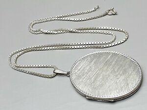 """Sehr großes und massiv gearbeitetes 800 Silber Medaillon """"WT"""" & Silberkette/A678"""