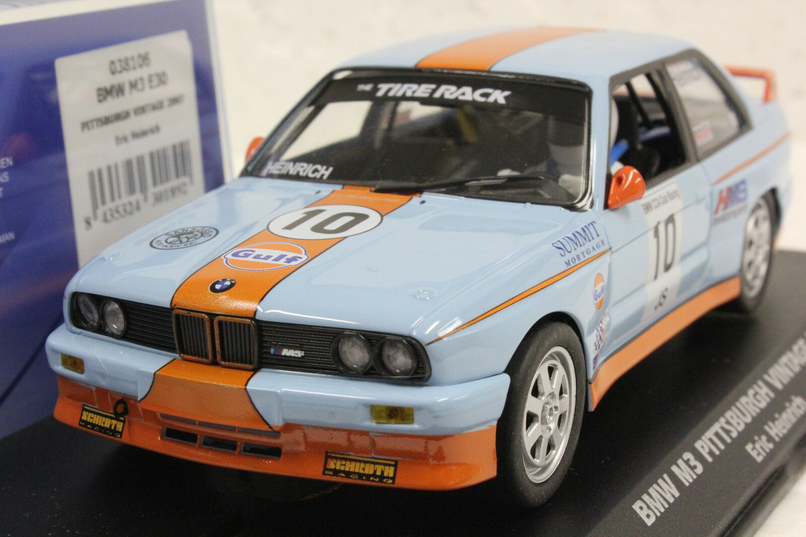 Fly 038106 Gulf BMW M3 E30 Pittsburgh Vintage 2007 New Slot car 1 32 Slot Car