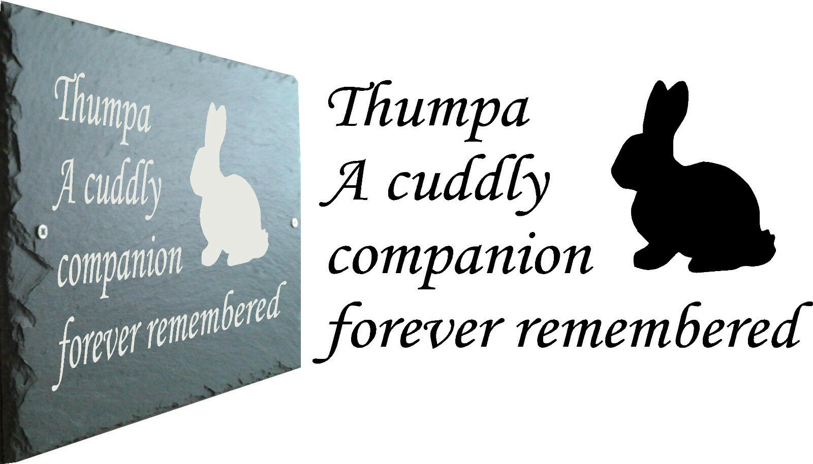 Memorial Slate Sign Plaque - Personalised for your Rabbit   Bunny - Grave Marker