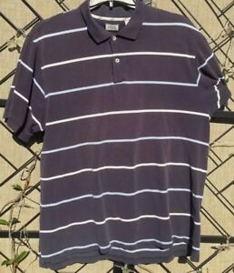 IZOD Shirt Men's Pima Cotton Golf Blue Striped Polo Short Sleeve 100%