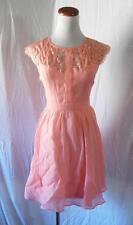 NEW Boho PEACHY PINK Eyelash Lace Yoke FIT & FLARE Prairie PEASANT Mini DRESS S