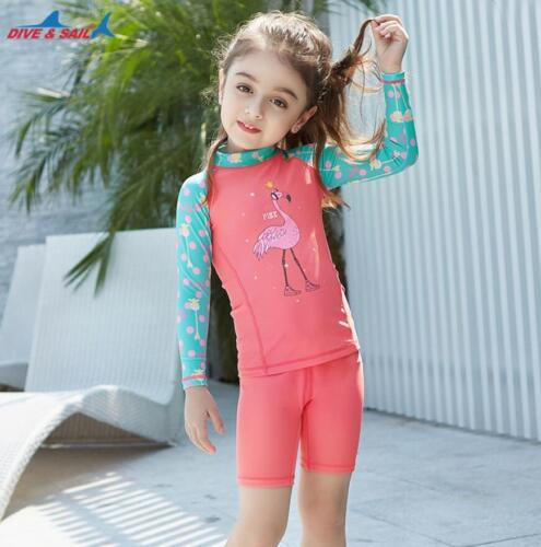 Kids Girls Sun UV Protection Long Sleeve Sunsuit Surf Beach Swimwear Swim Suit