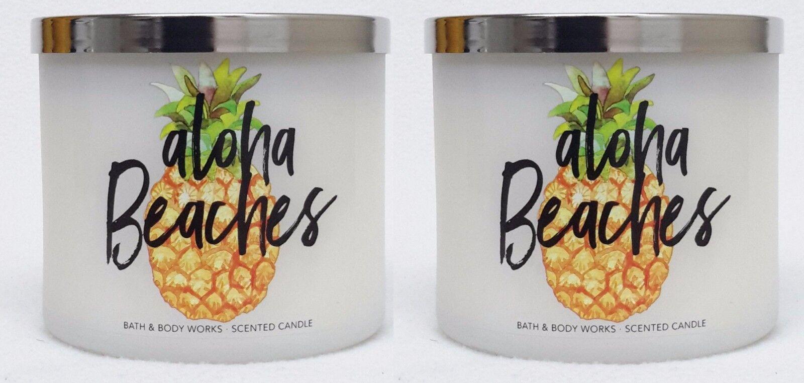 2 Bath & Body Works Aloha Beaches 3-Wick Candle 14.5