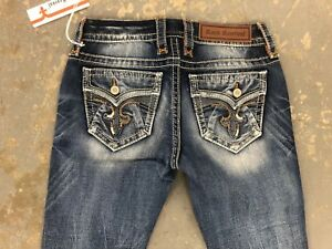 c4754ab704a NWT LADIES ROCK REVIVAL JEANS RIMA S209 SKINNY BLUE SIZE 26 STRETCH ...