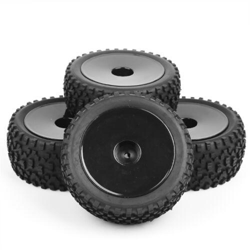 4X ANTERIORI E POSTERIORI IN GOMMA GOMME /& Ruota set 12mm Hex per HSP RC 1:10 OFF-ROAD BUGGY AUTO