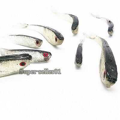 10Pcs Bait Super Soft Fishing Lures Worm Bass Trout Shad Crank Swim Bait 8cm 2g