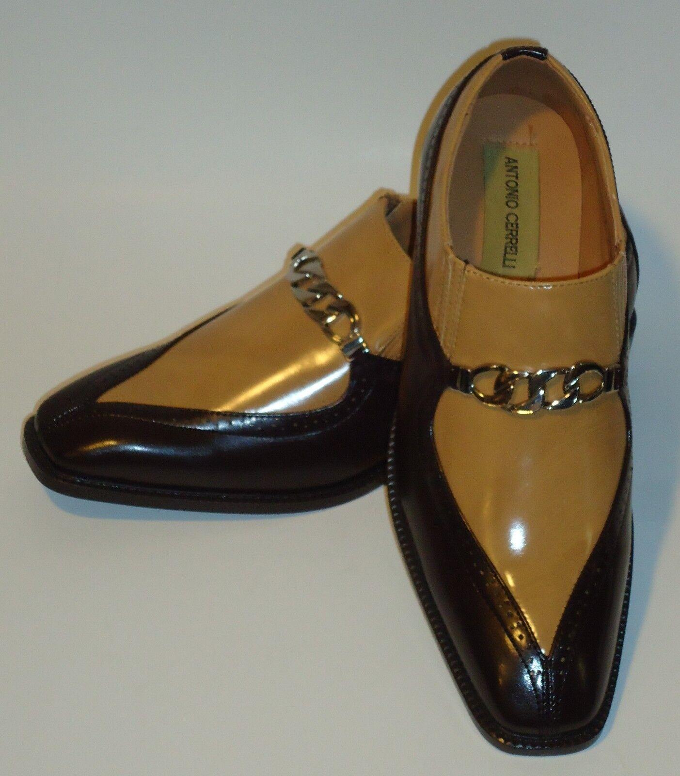 Mens Sharp Sharp Sharp braun Tan Two Tone Dress Loafers schuhe Antonio Cerrelli 6710 234fa6