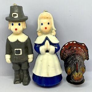 Vintage-Gurley-Thanksgiving-Candle-Lot-Pilgrim-Pair-Man-Woman-Turkey
