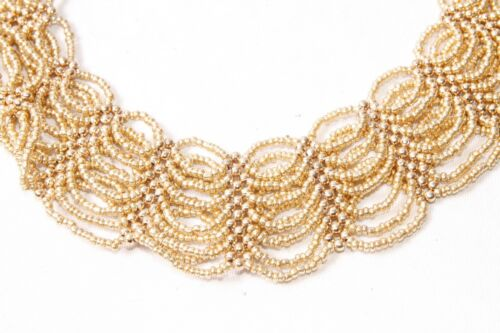 S573 Fashionable Cute Girly Multi Strand Gold Beaded Circles Collar Necklace