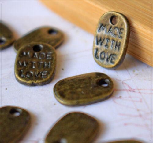 """20x metal colgante Charm plaquitas /""""made with love/"""" joyas DIY bricolaje 11x7mm"""