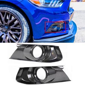 Pair-Real-Carbon-Fiber-Front-Bumper-Fog-Light-Bezel-Cover-For-15-18-Ford-Mustang