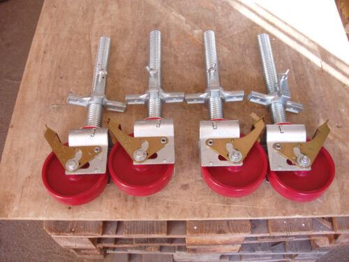 Spindelrollen 300kg Tragkraft nach EN 1004 neu Rollfüße 4 x Gerüstrollen
