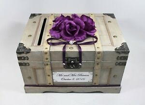 Image Is Loading Purple Card Box With Cards Slot Wooden Wedding