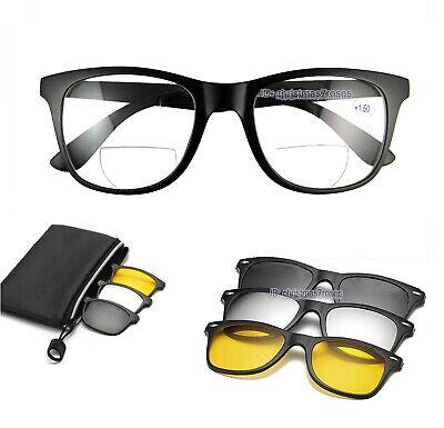Mens Bifocal Reading Glasses Magnetic Clip-on Sunglasses Polarized 1.0 1.5 2.0