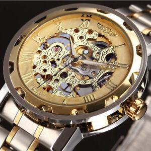 Superbe-Montre-Squelette-Mecanique-Homme-Bracelet-Metal-PROMO
