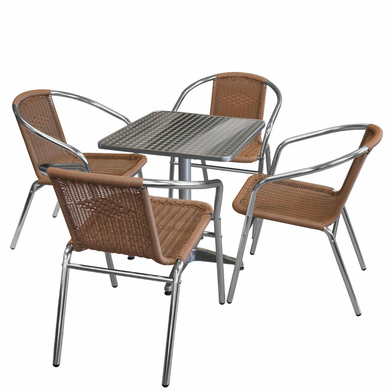 Bistromöbel Gartenmöbel Set Sitzgruppe Alu Bistrotisch 60x60cm + 4x Stapelstuhl