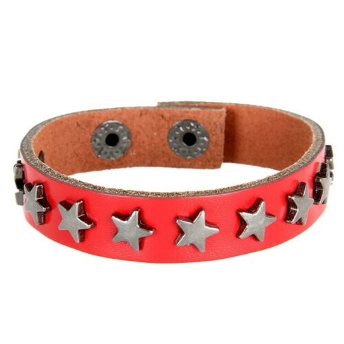 Punk Goth Studded Rivet Leather Personalized Stainless Steel Pentagram bracelet
