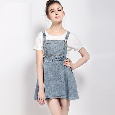 Fashion New Women Casual Pleated A-line Vestido Vintage Cute Denim Overall Dress