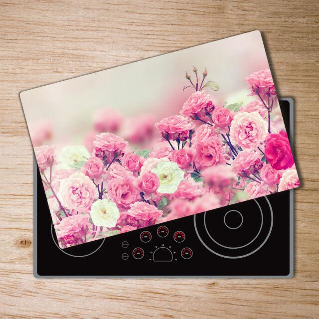 Glas-Herdabdeckplatte Ceranfeldabdeckung Zweiteilig 2x30x52 Lavendel Blumen