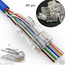 50PCS Cat5 Cat5e Network Connector 8P8C RJ45 Metal Cable Modular Plug Terminals