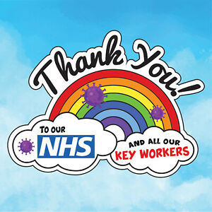 RAINBOW THANK YOU NHS Window Sticker Key Workers Charity Decal Sticker