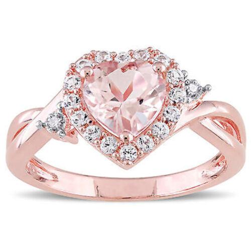 Rose Pink Sterling Silver Morganite White Sapphire /& Diamond Heart Infinity Ring
