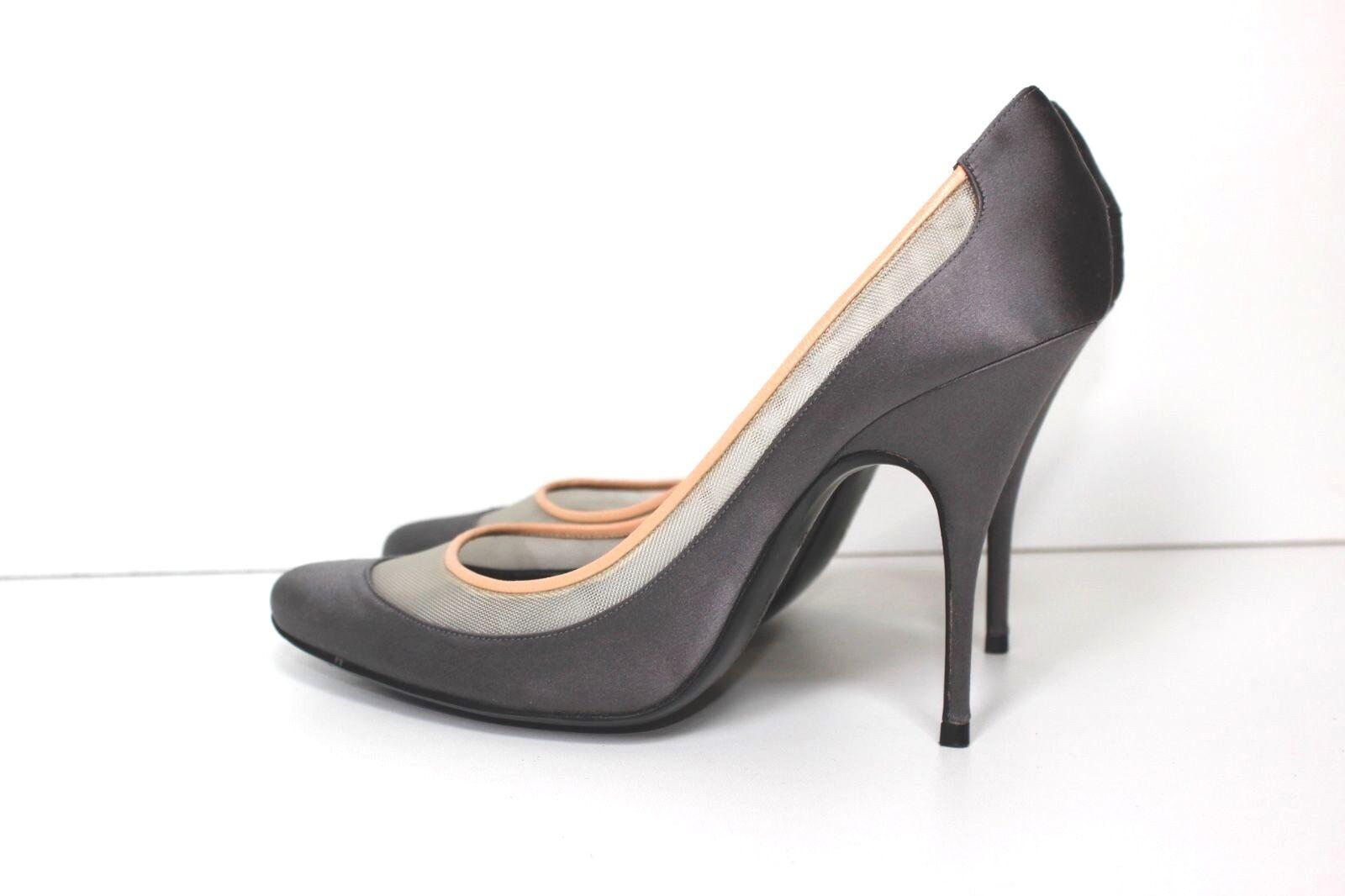 Givenchy Silver Satin Mesh Detail Almond 6 Toe Heel 39 UK 6 Almond a1ec83