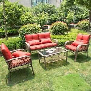 Image Is Loading Rattan Furniture Set Patio Cushioned Sofa Outdoor Indoor