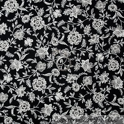 BonEful Fabric FQ Cotton Quilt B&W Black White Flower Leaf Calico Shabby Chic NR