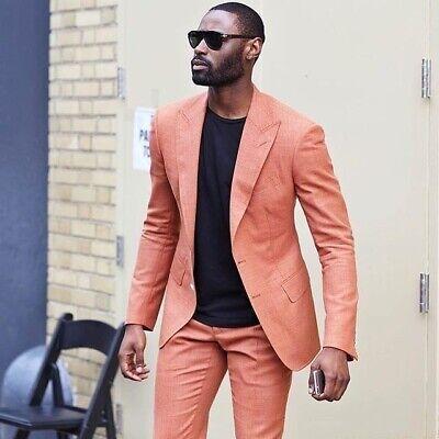 Men/'s Orange Peak Lapel Suits Groom Tuxedos Formal Wedding Prom Suit Custom
