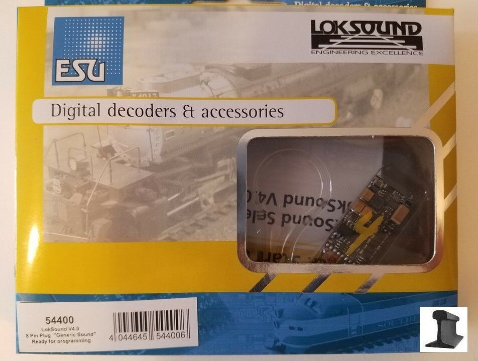 ESU 54400 Nuovo 2018 LokSound V4.0 DCC Sound Decoder 8 Pin W/ Sugar Cube Speaker