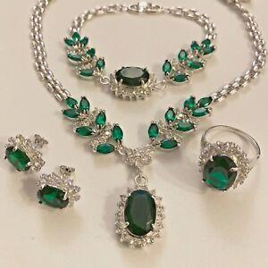 SET-White-Gold-Necklace-Bracelet-Stud-Earrings-Ring-Emerald-Diamante-Plum-BOXED