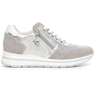 Sneaker donna NEROGIARDINI stringhe zip P717230D pelle e tela NUOVA COLLEZIONE