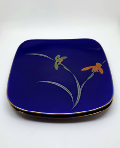 Blue-Oriental-Asian-Cloisonne-style-Iris-Trinket-Ring-Coin-Dishes-Display-Plates