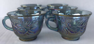 Vintage-Blue-Carnival-Glass-Punch-Cups-6-Indiana-Glass-Harvest-Grape