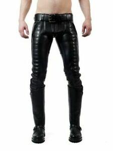 Para-hombres-Cuero-Original-Pantalones-Jeans-Pantalones-Pespunte-en-tuberias-acolchada-de-color