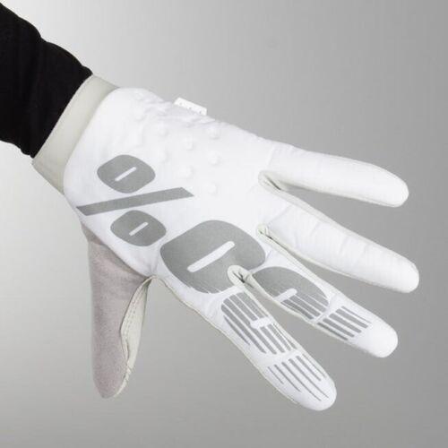 100/% Brisker White MX Gloves MTB Motocross Large Grey Mountain Bike