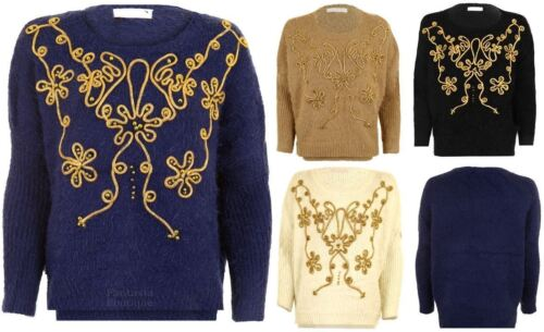 Ladies Long Sleeve Fluffy Furry Beaded Gold Floral Thread Rope Women/'s Jumper