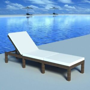 vidaXL-Sun-Lounger-Poly-Rattan-Wicker-Brown-Patio-Outdoor-Garden-Recliner-Bed